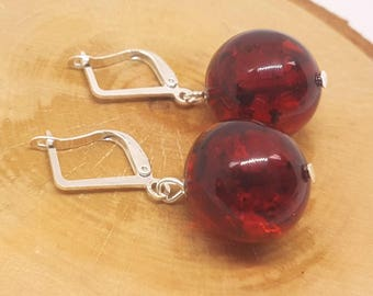 Red amber earrings.Baltic amber.Natural stone.Gift.Jewellry beads.