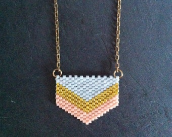 Pale grey & Pink Chevron Necklace