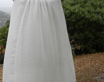 White hand made tunic dress, white smock dress, summer smock, beach dress, pary dress, prarie dress,  size uk 12-14, usa 10-12