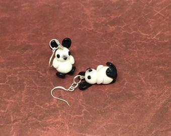 White and Black Rabbit Earrings, Bunnies, Animal Charms, Bunny Earrings, Polymer Clay, Animal Earrings, Animal Jewelry, Rabbits, Bunny, Buns