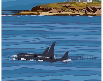 vintage travel poster San Juan Islands washington  state whales illustration digital download