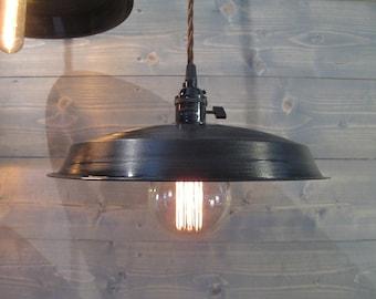 Black Vinyl Record Pendant Light - Reused Plastic Industrial Ceiling Lamp