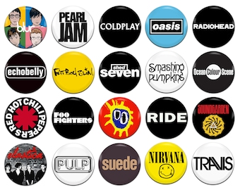20x 90's Bands Artists Various 25mm / 1 Inch D Pin Button Badges