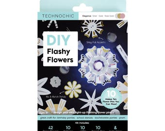 Flashy Flowers - Light-Up Paper Flowers Kit - Elegance - Makes 10 Light-Up flowers - Holiday Craft Kit - Geeky Gift - Crafty Kids - DIY