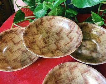 Vintage Set of 4 Cambro Bowls, Fiberglass Raffia Ware Dishes