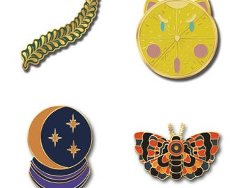 4 Pack of Hard Enamel Pins: Spring Thyme, Sour Puss, Crystal Ball, Autumn Moth