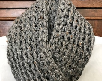 Crochet Gray Tweed Infinity Scarf