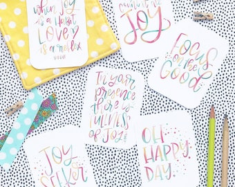 Joy Themed - Hand Lettered Mini Encouragement Cards, Bible Journaling, Planner Card, Gift Tags, Journal. Count It All Joy, Focus on the Good