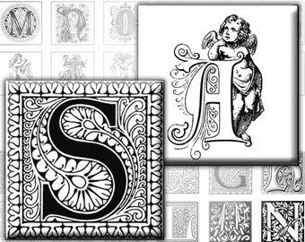 Vintage Ornate Black and white Alphabet Letters 1x1 inches  Monogram (233) Buy 3 - get 1 bonus