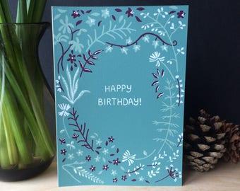 Screenprinted Birthday Card