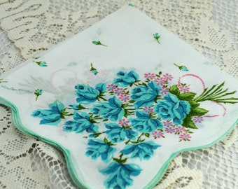Vintage Hankie, Turquoise Flowers on White,  Gorgeous  Gift Hankie, Sewing Hankie, Crafting Hankie ##A-44