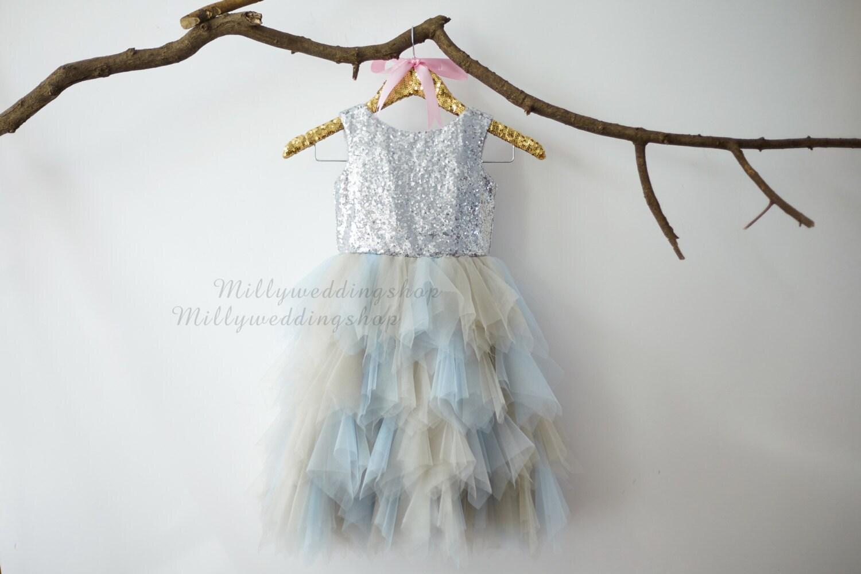 Light Gray Bridesmaid Dresses Knee Length Soft Tulle: Sliver Sequin Gray Blue Ruffle Tulle Skirt Flower Girl Dress