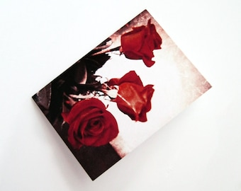 Vintage Roses - Blank 4x5.5 Note Card, Single or Set of 4 - Red Sepia Ivory- Romantic Valentine Love Photo Flowers Antique