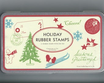 Cavallini Vintage Holiday Rubber Stamp Set, Tin & Ink Pad PSS 3359