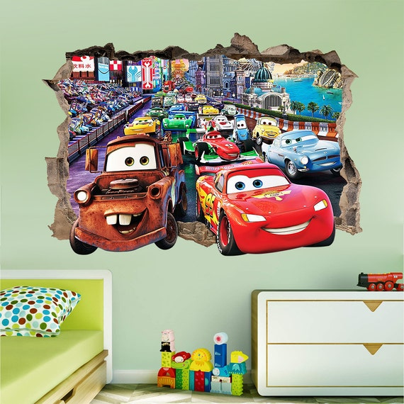 Lovely DISNEY CARS 3d Wall Sticker Smashed Bedroom Kids Decor Vinyl
