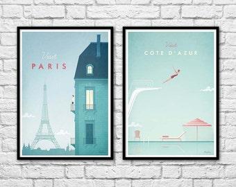 2 Art-Posters 30 x 40 cm - Visit Paris and Côte d'azur Travel Poster