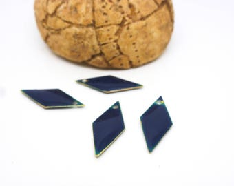 4 sequins 20 * 8mm Navy Blue geometric diamond charms - resin tinted 2 faces (PMSQ24)