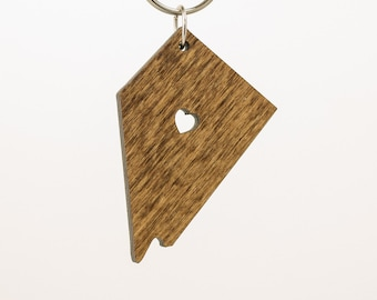 Nevada Wooden Keychain - NV State Keychain - Wooden Nevada Carved Key Ring - Wooden NV Charm - State of Nevada Keychain - Nevada State Charm