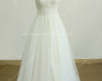 Romantic ivory tulle lace wedding dress, beach wedding dress with very pale champgne lining