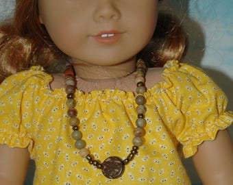 Doll, necklace, american, made, girl, doll jewelry, 18 inch doll, beaded, 19