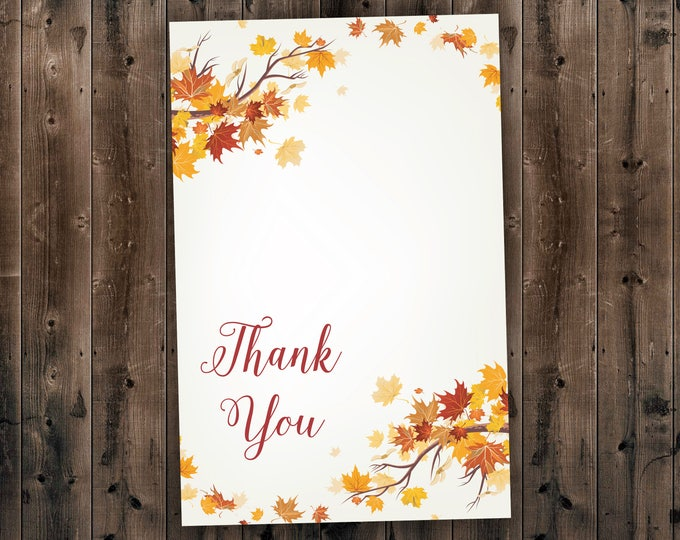 Autumn Wedding Thank You, Fall Wedding Thank You Card, September Wedding, Leaves, October, Maroon and Orange Wedding