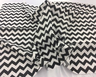 Poly Cotton Fabric Zig Zag Design Black White By Yard
