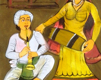 Vintage Folk Art Canvas Painting Indian Musician