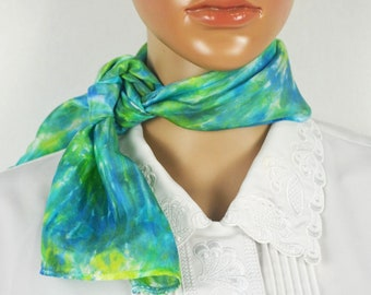 Blue and Green Silk Scarf, 8 x 34, Short Silk Scarf, Small Ladies Neck Tie, Silk Ties, Womens Scarves, One of a Kind, Unique, Gift Ideas