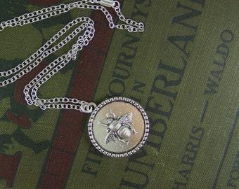 Honeybee Necklace, Reversible Necklace, Tree Of Life Necklace, Bee Necklace, Silver Bee Necklace, Tree Necklace, Honeybee, Bee, Silver Bee
