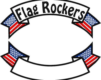 Custom Embroidered 12 inch banner   FLAG Rocker Patch