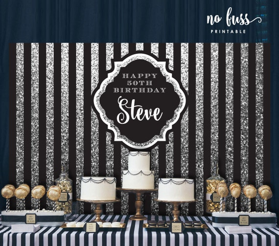 Black And Silver Backdrop Adults Party Banner Poster