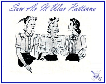 """1940s Australian Womens Weekly Blouses Front Buttoned Collar Pin Tucks Yoke Short Sleeves Vintage Sewing Pattern Size 10 Bust 32"""" 83cm"""