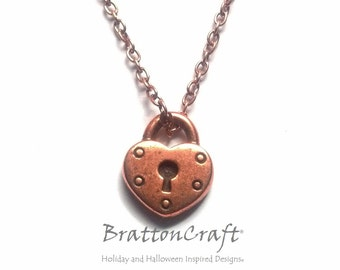 Antiqued Copper Heart Lock Necklace - Heart Necklace - Copper Heart Lock Necklace - Heart Lock Charm Necklace