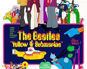 "The Beatles - Yellow Submarine - Home Theater Decor -  Movie Musical Poster Print  - 13""x19"" or 24""x36"" - Vintage Rock and Roll Poster -"