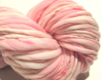Handspun Yarn Almost Solid Pink 33 yards hand dyed merino wool waldorf doll hair knitting supplies