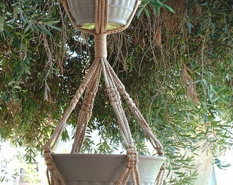 Macrame Plant Hanger 2-TIER 6mm  50in Sand (Choose Color) - Double Hanger