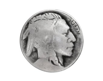 12 Indian Head 5/8 inch ( 15 mm ) Metal Buttons Silver Color