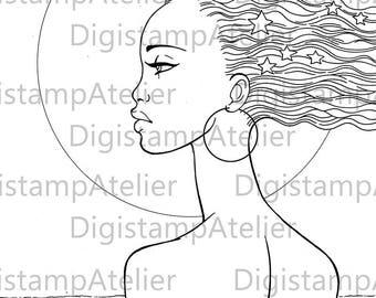African Star Woman. INSTANT DOWNLOAD Digital Digi Stamps