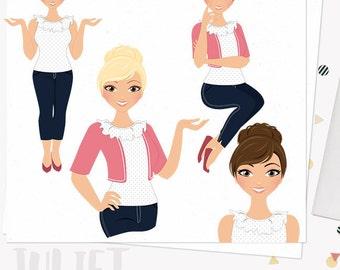 Girl boss clipart, planner girl, working mom, woman character clipart, digital blog clipart, blonde, brunette and auburn set (Juliet  L019)