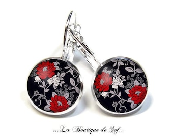 925 Sterling Silver: Stud Earrings with glass cabochons * flowers * (110218) 3 sizes
