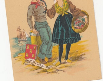 1940-50s France From The Provinces Great Color,Costumes Man And Woman Slightly Risque MUST SEE Postcard