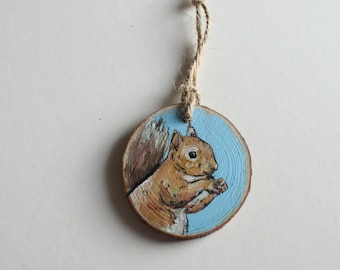 Hand Painted Wood Slice: Squirrel