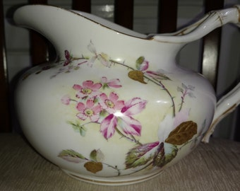 Lotus Ware Pitcher 1890's Knowles Taylor and Knowles Victorian American Art Porcelain Hand Painted