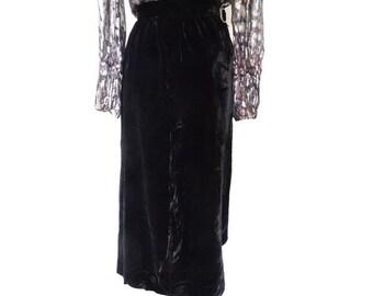 Vintage GOTH black velvet Maxi SKIRT // size eu 38 -uk 10 - us 6