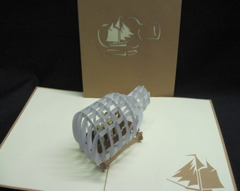 3-D Ship in a Bottle Pop-Up Card