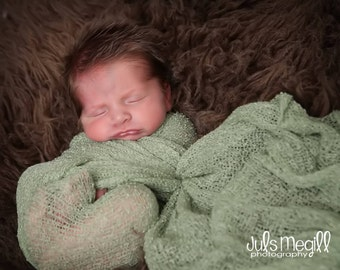 Sage RTS Stretchy Soft Newborn Knit Wraps 80 colors to choose from, photography prop newborn prop wrap