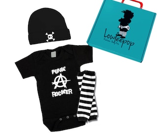 ROCKSTAR BABY KIT Punk Rocker Anarchy onesie, leg warmers, skull hat & optional gift box