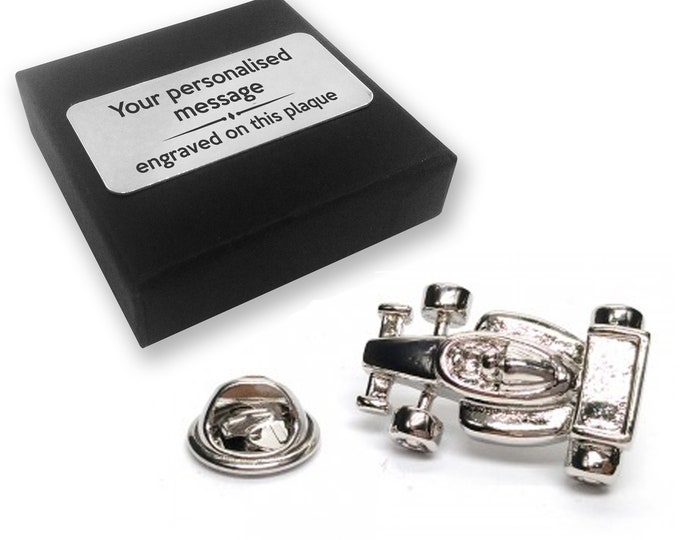 Racing, car, F1, lapel pin badge, tie pin, brooch accessory, boutonniere - personalised engraved gift box - 555