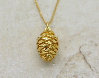 Gold Dipped REAL Pinecone Pendant Necklace 24k GOLD Plated Real Pine Cone Charm on 24K Gold Plated Brass Chain (AN026)