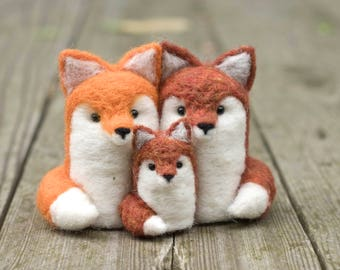 Needle Felted Fox - Family of Three